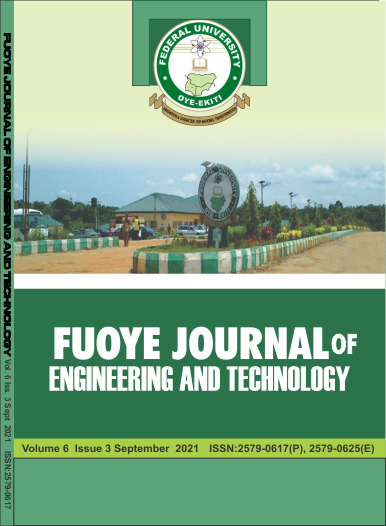 FUOYE Journal of Engineering and Technology Vol. 6 Iss. 3 (September 2021 issue)